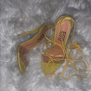 Ego official neon faux suede pvc lace up heels